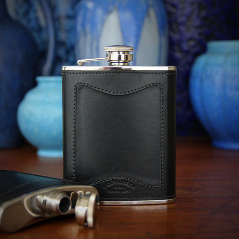 CC Filson Stainless Steel Hip Flask with Bridal Leather Wrap and Screw-Down Lid (LEO Design)