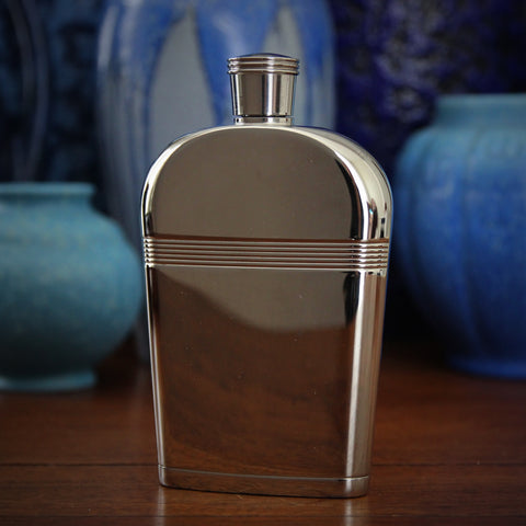 Stainless Steel Art Deco Style Six Ounce Curved Hip Flask with Screw-Down Lid (LEO Design)