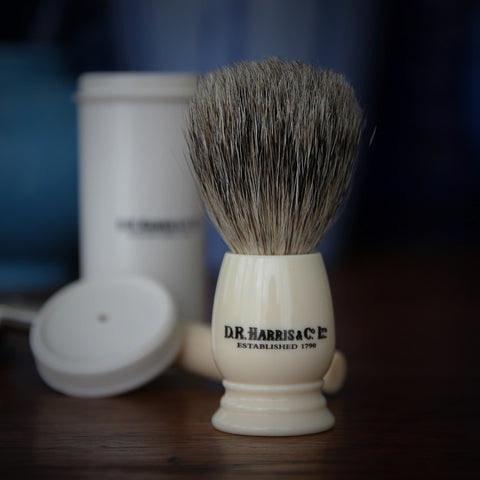 "D.R. Harris English ""Best Badger"" Travel Shave Brush in Ivorine Handle with Heavy Travel Tube (LEO Design)"