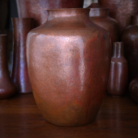 "Hand-Beaten Copper Heavy ""Soft Square"" Vase (LEO Design)"