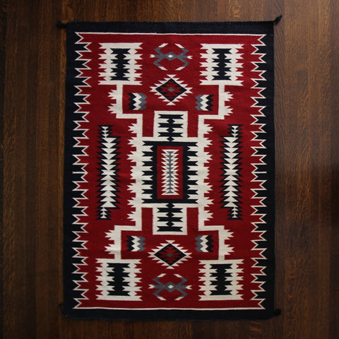 Navajo Wool Rug with Striking Red, Black and White Graphics (LEO Design)