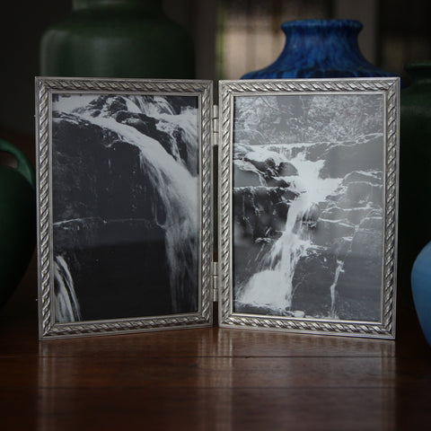 "Cast Pewter ""Rope"" Hinged Double (5x7) Photo Frame Made in New York (LEO Design)"