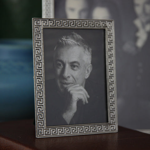 "Cast Pewter Photo Frame (2.5"" x 3.5"") with Crisp Greek Key Border (LEO Design)"