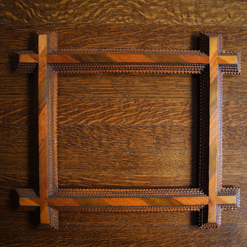 """Eastern European """"Tramp Art"""" Carved Marquetry Picture Frame with Oxford Corners (LEO Design)"""