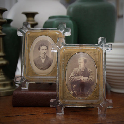 Pair of Victorian English Glass Frames with Convex Centers (LEO Design)