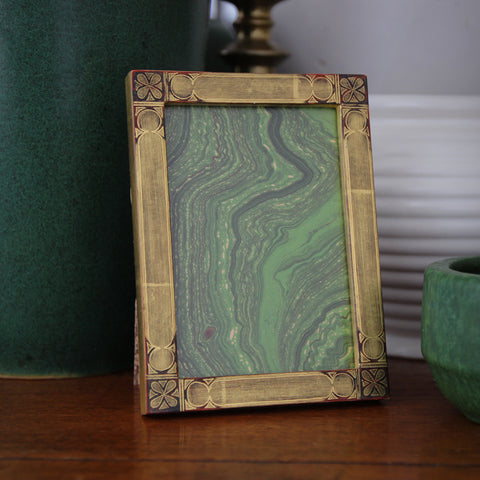 "European Gold-Leafed Photo Frame (3.5"" x 5"") with Hand-Drawn Gothic Revival Decoration (LEO Design)"