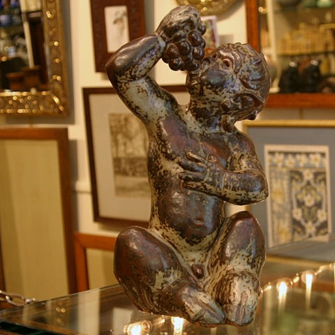 Danish Modern Bacchus Satyr Sculpture by Knud Kyhn for Royal Copenhagen (LEO Design)