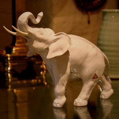 Royal Dux Czech Porcelain Elephant Sculpture (LEO Design)