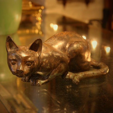 Crouching Feline Sculpture of Cast Brass Finished with Verdigris Patina (LEO Design)