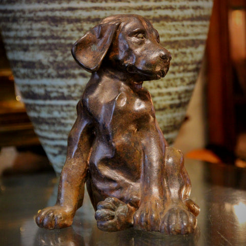 "Cast Brass ""Slouchy Puppy"" Sculpture - Large (LEO Design)"