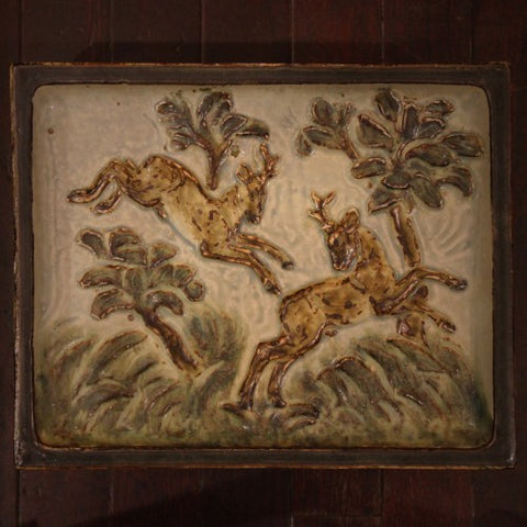 Danish Modern Leaping Stags Plaque by Knud Kyhn for Royal Copenhagen (LEO Design)
