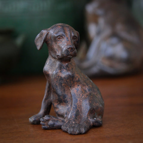 "Cast Brass ""Slouchy Puppy"" Sculpture with Verdigris Bronze Patina (LEO Design)"