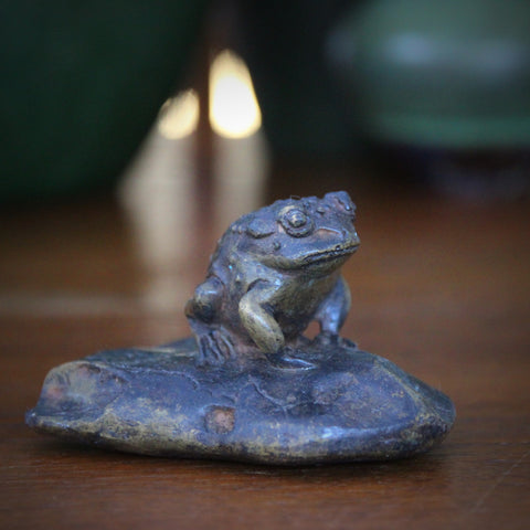 "Cast Brass ""Toad on a Rock"" with Verdigris Bronze Patina (LEO Design)"