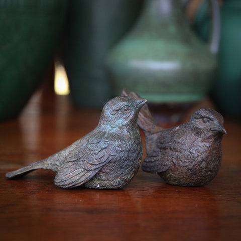 Pair of Cast Brass Sparrows Finished with a Veridgris Bronze Patina (LEO Design)