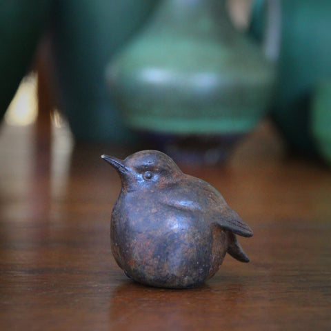 "Cast Brass ""Baby Bird"" with Verdigris Bronze Patina (LEO Design)"
