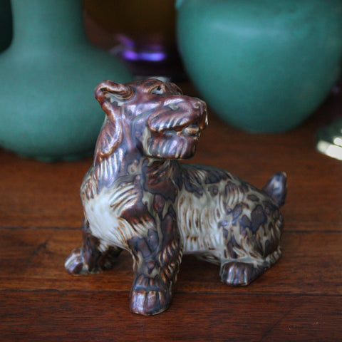 Danish Modernist Stoneware Terrier Sculpture by Knud Kyhn for Royal Copenhagen (LEO Design)