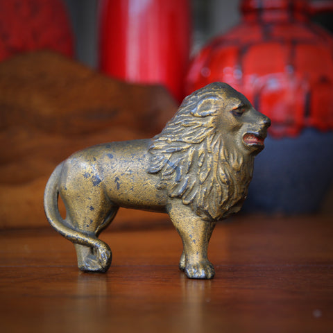 Cast Iron Lion Coin Bank with Original Paint (LEO Design)