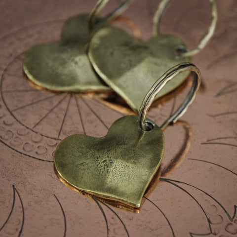 Cast Pewter Sculpted Heart Keyfobs with Brassy Finish (LEO Design)
