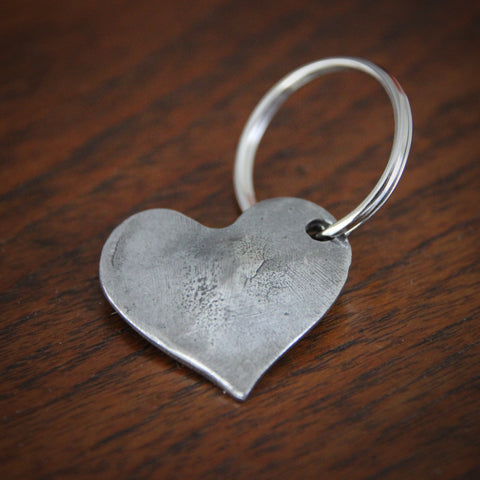 Cast Pewter Sculpted Heart Key Fob (LEO Design)