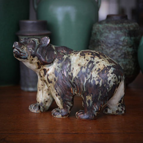 Danish Modern Stoneware Walking Bear Sculpture by Knud Kyhn for Royal Copenhagen (LEO Design)