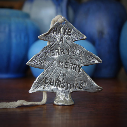 Cast Pewter Christmas Tree Ornament (LEO Design)