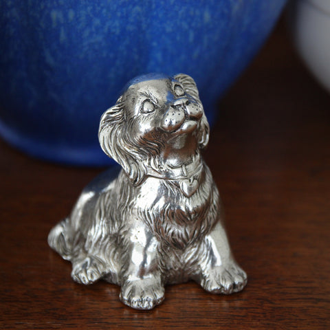 "Silver-Plated Spaniel Puppy Music Box - ""Brahms's Lullaby"" (LEO Design)"