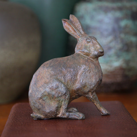 Finely-Cast Brass Hare with Verdigris Bronze Patina (LEO Design)