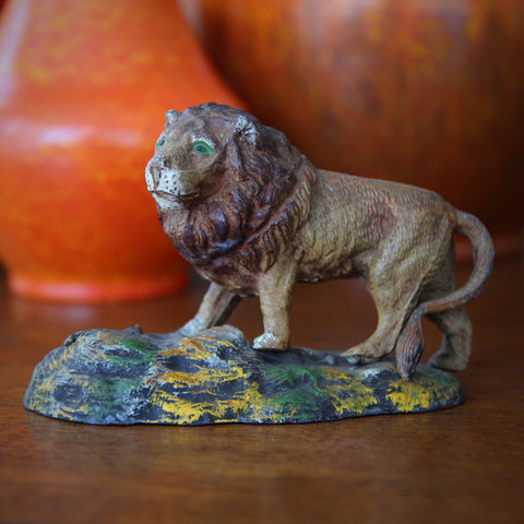 Hand-Painted Spelter Lion on a Mountain Sculpture (LEO Design)