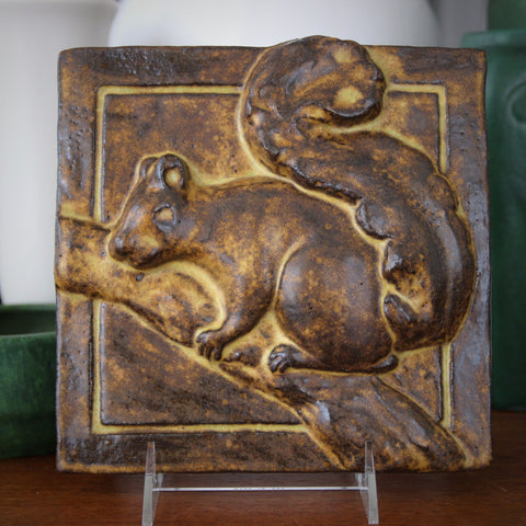Stoneware Tile Plaque with Sculpted Bas Relief Squirrel and Caramel-Brown Glazing (LEO Design)
