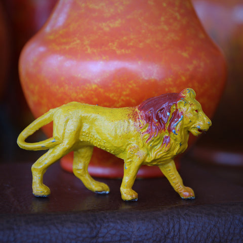 English Hand-Painted Tin Lion Toy Sculpture by John Hall & Co. (LEO Design)