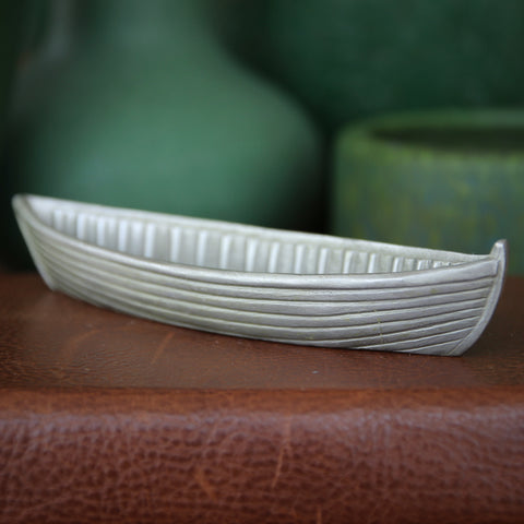 Cast Pewter Row Boat Sculpture by Rawcliffe (LEO Design)
