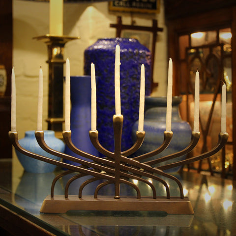 Modern Cast Bronze Menorah (LEO Design)