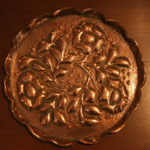 English Arts & Crafts Hand-Tooled Copper Plate (LEO Design)