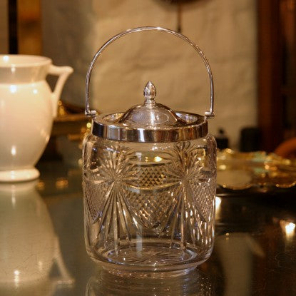 English Cut Glass Biscuit Barrel with Silver-plated Mountings (LEO Design)