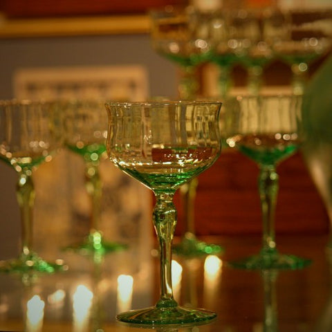 Set of Emerald Green Sherry Stems (LEO Design)