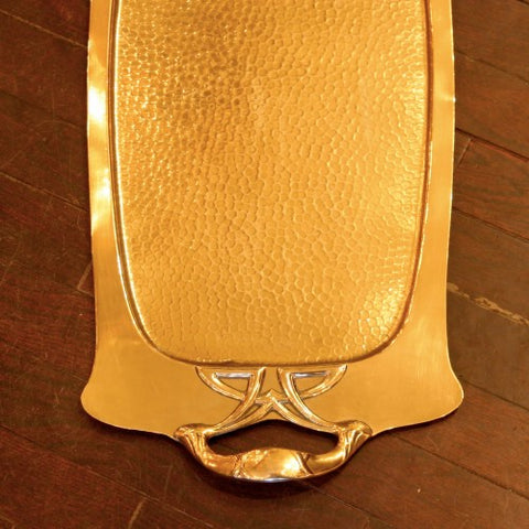 English Arts & Crafts Hammered Brass Tray with Whiplash Handle (LEO Design)