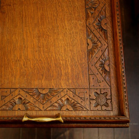 English Oak Butler's Tray with Hand-Carved Aesthetic Movement Border (LEO Design)