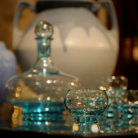 Icy Blue Crystal Decanter and Glass Service (LEO Design)