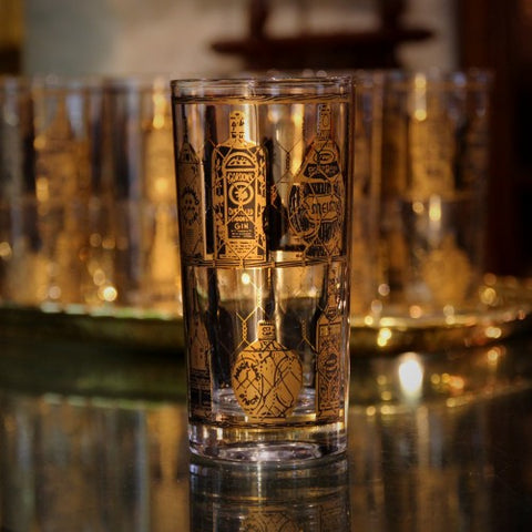 "Set of Mad Man-ish ""Top Shelf"" Gold-Trimmed Highball Glasses (LEO Design)"