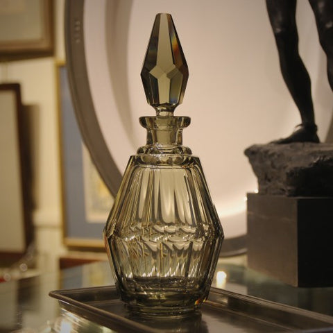 Czech Smoked Crystal Decanter by Josef Hoffman for Moser (LEO Design)