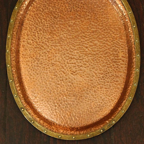 Arts & Crafts Hand-Hammered Copper Tray with Riveted Brass Rim (LEO Design)