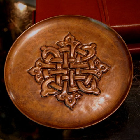 Norwegian Arts & Crafts Hand-Hammered Copper Tray with Gothic Celtic Knot (LEO Design)