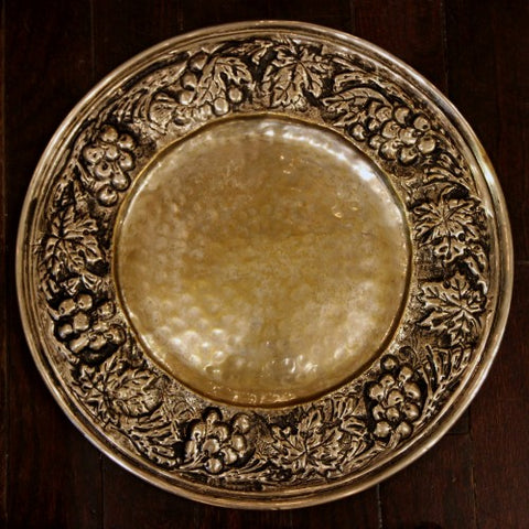 English Arts & Crafts Hand-Hammered Brass Plate with Grape Vine Border (LEO Design)