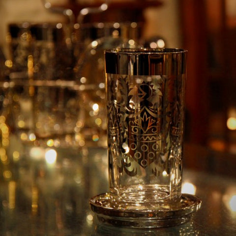 "Mid-Century ""Heraldic"" Highball Glasses with Mirrored Trim (LEO Design)"