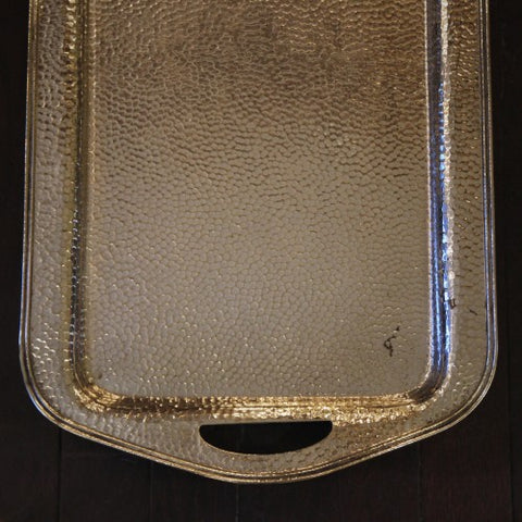 Arts & Crafts Hand-Hammered and Silver-Plated Cocktail Tray (LEO Design)