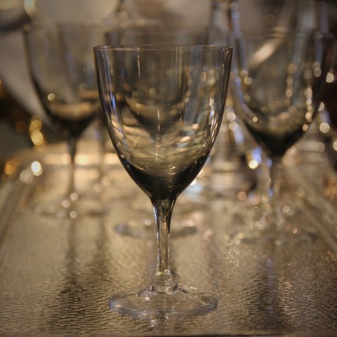 German Modernist Smoked Crystal Wine Glasses (LEO Design)