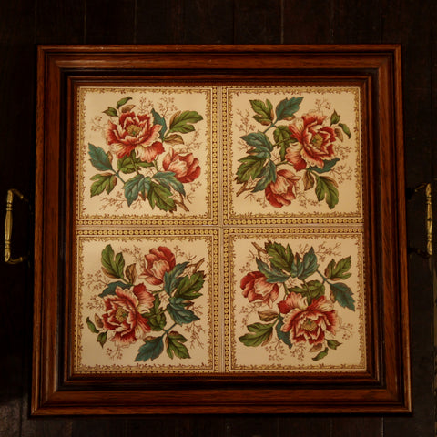 English Arts & Crafts Tiled Tea Tray with Walnut Gallery (LEO Design)