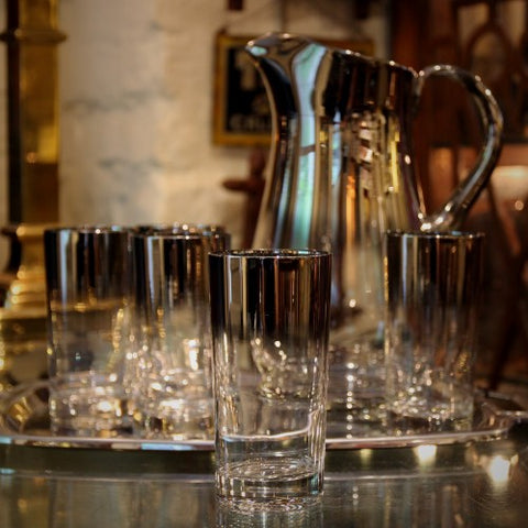 "Modernist ""Silver Fade"" Cocktail Pitcher and Highball Glasses (LEO Design)"