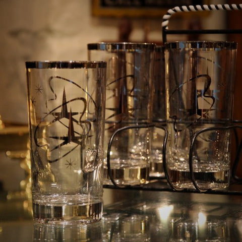 Atomic Highball Glasses with Mirrored Futurist Motif (LEO Design)