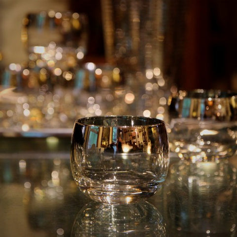 "Modernist ""Roly Poly"" Mirror-Rimmed Whiskey Glasses (LEO Design)"